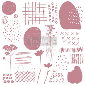ABSTRACT SCRIBBLES – 12″X12″ (19 PCS) Decor Stamps by redesign with Prima