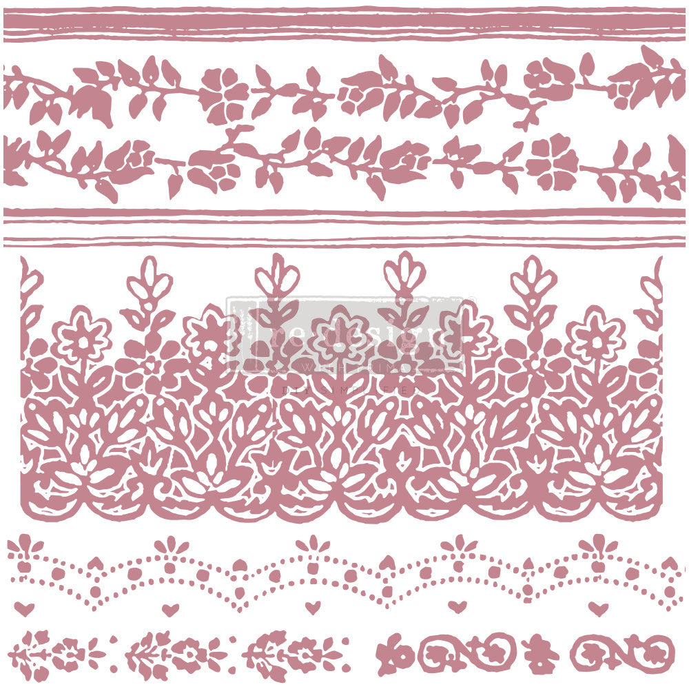 FLORAL BORDERS – 12″X12″ (7 PCS) Decor Stamps by redesign with Prima