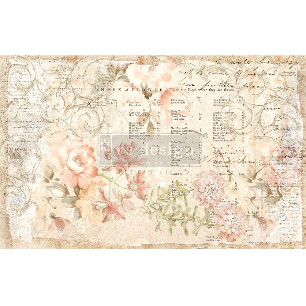 FLORAL PARCHMENT Decoupage Paper by redesign with Prima