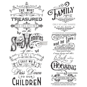 "Family Heirlooms Transfer-redesign with Prima (Total size 24"" x 29""-2 sheets) Furniture decal transfer"