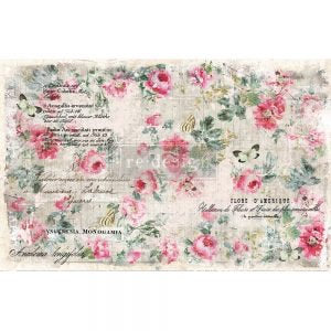 Floral Wallpaper 2 SHEETS (19″ X 30″) decoupage material by redesign with Prima