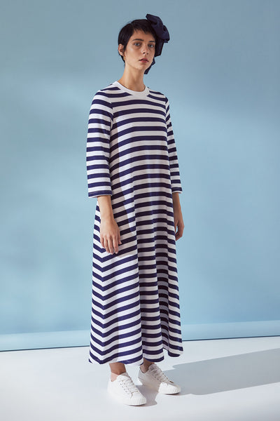 Kowtow 3/4 Sleeve A-line Dress - Navy Wide Stripe - nat + sus