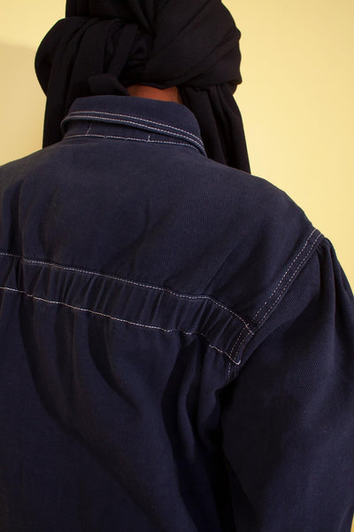 L.F. Markey Puff Sleeve Chore Coat - Navy Denim - nat + sus/the shop