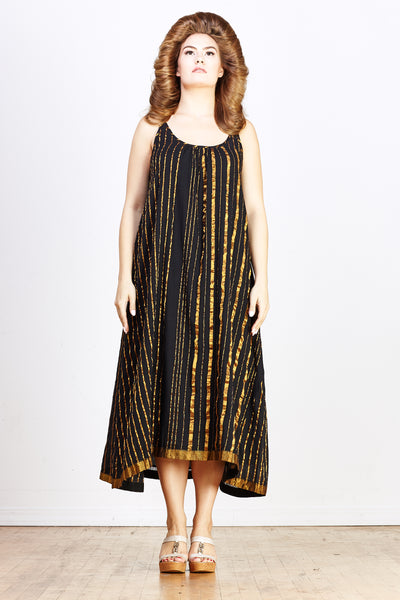 Sale! Sultan Slip Dress - Black with Gold Stripe - nat + sus