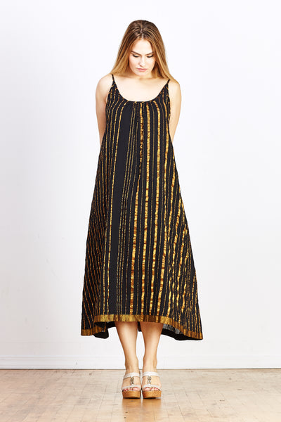 Sultan Slip Dress - Black with Gold Stripe - nat + sus