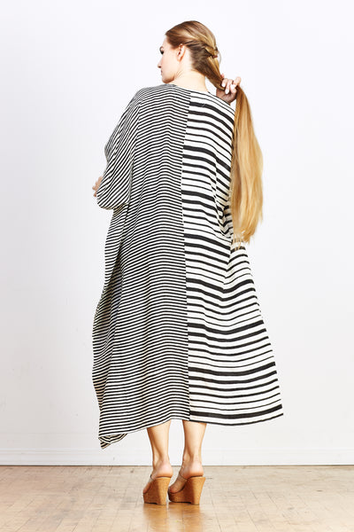 Ika Jim Kaftan - Black Stripe Silk - nat + sus