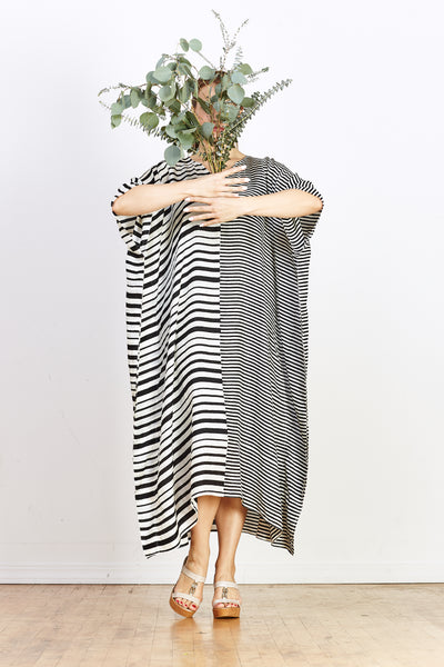 Sale! Ika Jim Kaftan - Black Stripe Silk - nat + sus
