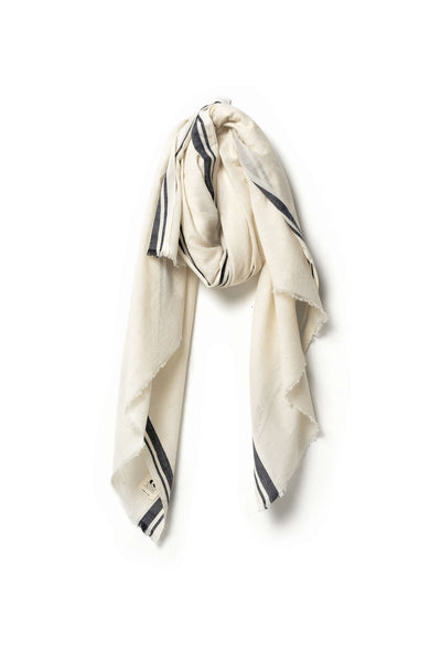 Sale! Kala Scarf - Cream with Black Border - nat + sus