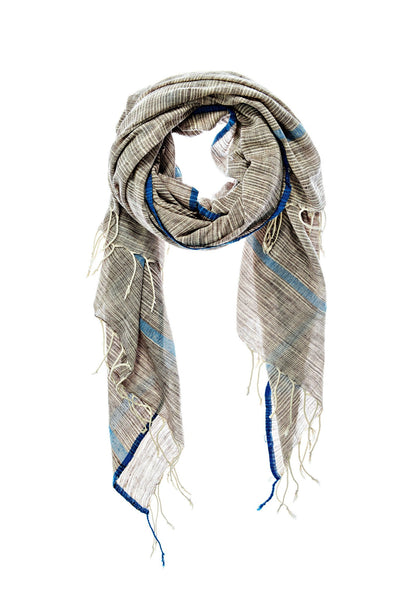 Sale! Shalini Scarf - Grey with Marine Stripe - nat + sus