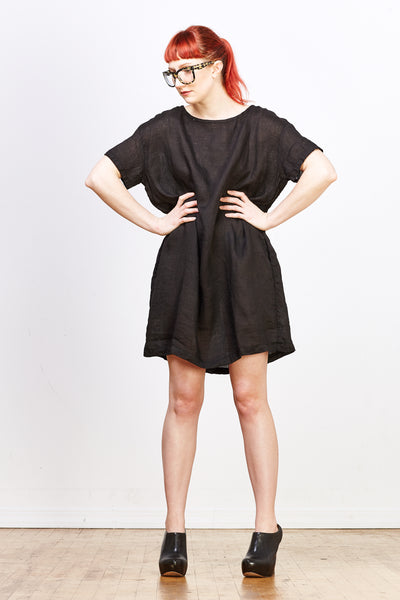 Carolina Linen Dress - Black - nat + sus