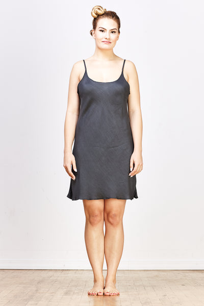 Nora Rayon/Silk Short Slip Dress - River Rock - nat + sus
