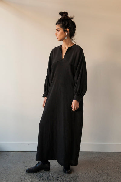 Long Yoke Raglan Sleeve Dress - Black - nat + sus