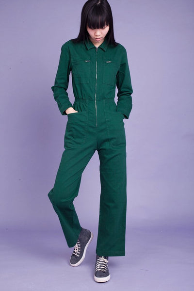 L.F. Markey Danny Longsleeve Boilersuit - Forest Green - nat + sus