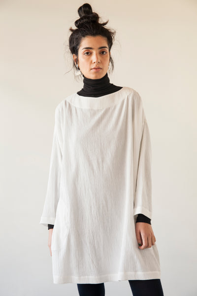 Sale! Long Sleeve Crinkle Cotton Tunic - Various - nat + sus