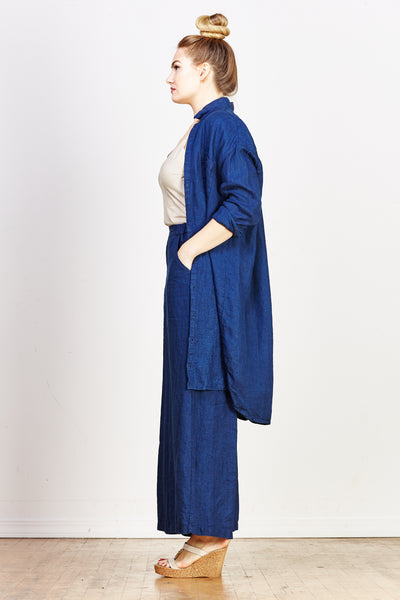Mari Heavy Linen Shirt Dress - Indigo - nat + sus