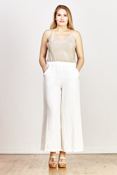 Wendy Linen Twill Pant - White - nat + sus