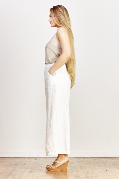 Wendy Heavy Linen Pant - White - nat + sus