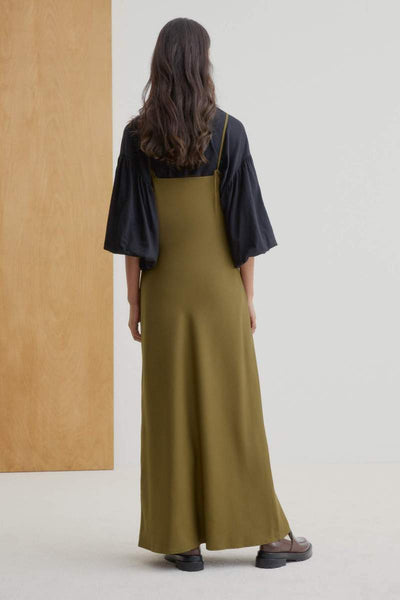 Kowtow Ada Long Slip Dress - Khaki Green - nat + sus