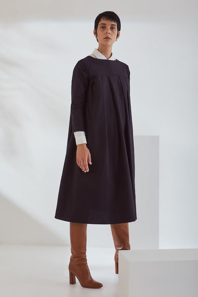 Kowtow Atelier Pleat Dress - Black - nat + sus/the shop