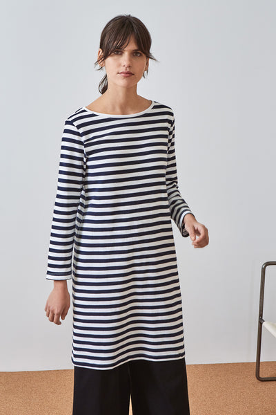 Kowtow Building Block Breton Dress - Navy Stripe - nat + sus