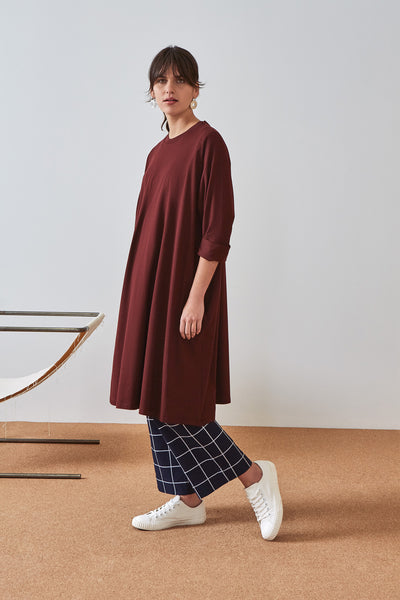 Kowtow Building Block Oversized Boxy Dress - Wine - nat + sus
