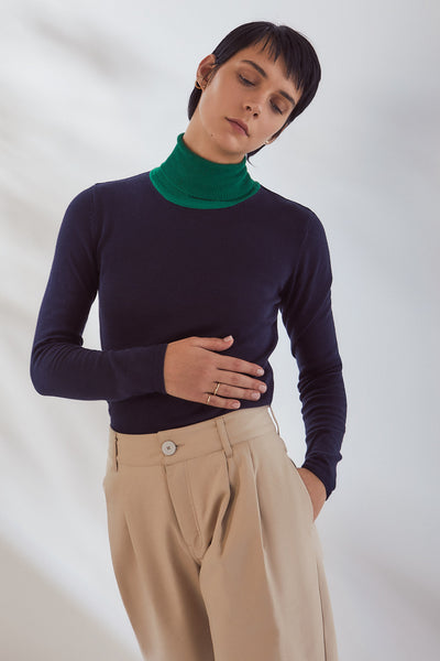 Kowtow Knit Color Block Roll Neck Top - Midnight/Kelly Green - nat + sus