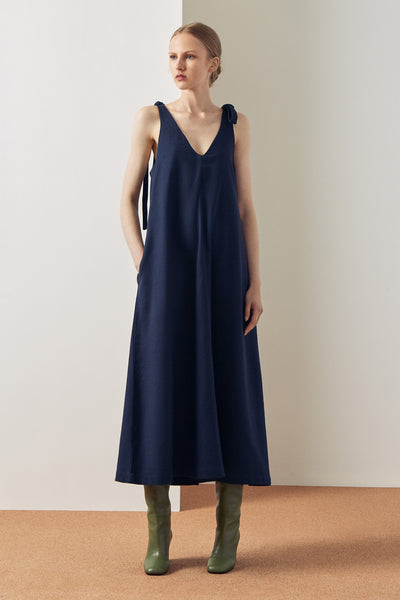 Kowtow Knotted Tie Dress - Navy - nat + sus