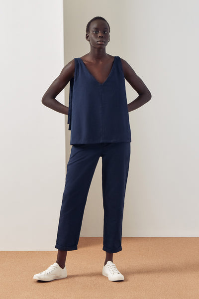 Kowtow Knotted Tie Top - Navy - nat + sus/the shop