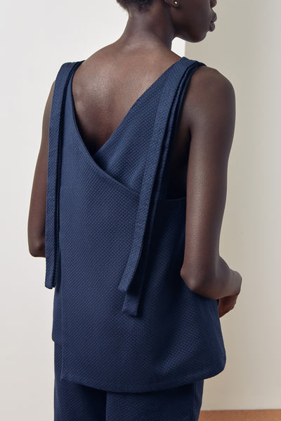 Kowtow Knotted Tie Top - Navy - nat + sus