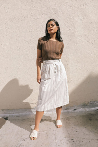 SALE! Kordal Ellis Skirt - Cream/Black Stripe - nat + sus