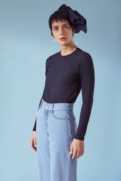 Kowtow Building Block Long Sleeve Tee - Black - nat + sus