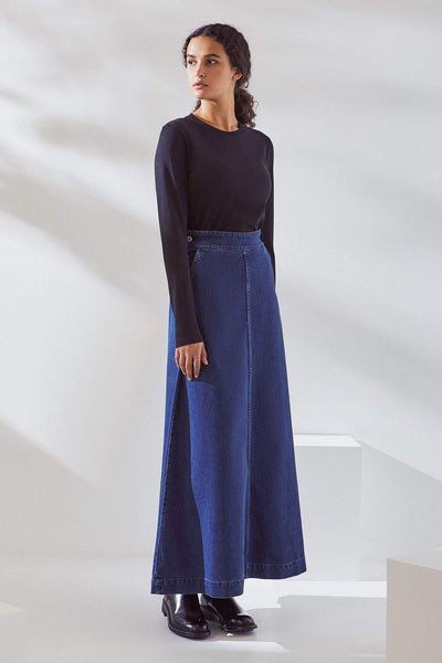Kowtow Outline Skirt - Mid Blue Denim - nat + sus/the shop