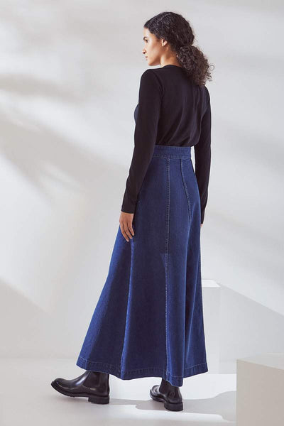 Kowtow Outline Skirt - Mid Blue Denim - nat + sus