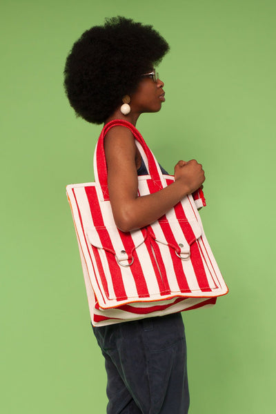 L.F. Markey Striped Beach Bag - Yellow or Red - nat + sus/the shop