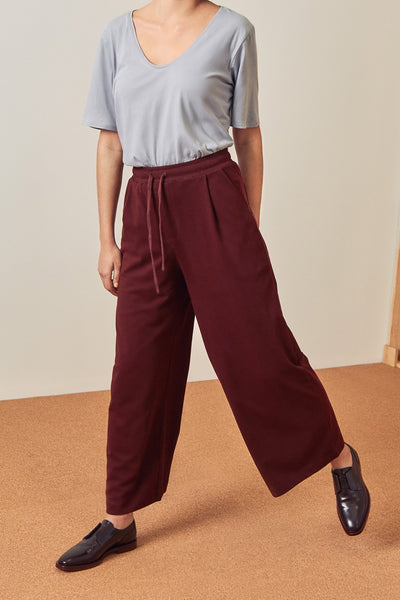 Kowtow Building Block Wide Leg Pant - Wine - nat + sus