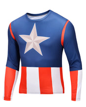 2015 new men Body sculpting sweatshirt T-shirt spiderman captain America avengers superhero men's long sleeve shirt 21 style - Clearlygeek - 2