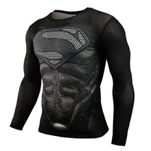 Mens Gym Clothing Sport Fitness tshirt 3D Superman/Captain America Long Sleeve T Shirt Men Crossfit Compression Shirt - Clearlygeek - 1