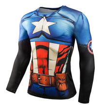 Mens Gym Clothing Sport Fitness tshirt 3D Superman/Captain America Long Sleeve T Shirt Men Crossfit Compression Shirt - Clearlygeek - 4