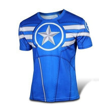 NEW 2015 Marvel Captain America 2 Super Hero lycra compression tights sport T shirt Men fitness clothing short sleeves S-XXXXL - Clearlygeek - 17