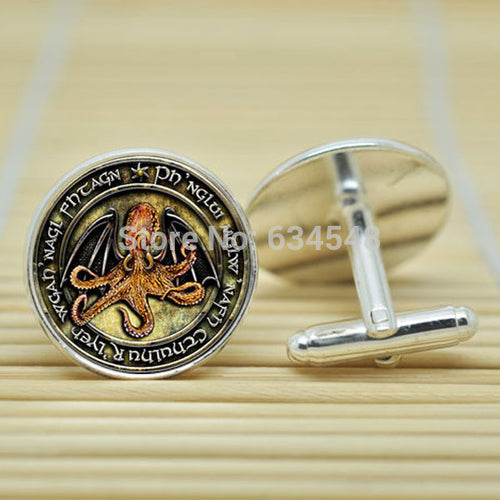 1pair H.P. Lovecraft Cthulhu R'lyeh Inspired in silver Cufflinks glass Cabochon Cufflinks C3998 - Clearlygeek
