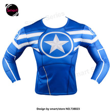 Fashion Marvel Comics Super Heroes Spiderman Captain America Batman Lycra Tights sport T shirt Men fitness clothing Long sleeves - Clearlygeek - 13