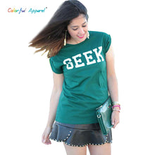 Colorful Apparel Korean Trend Hem Roll-up Sleeve Of Random Hem Geek Loose Letter T-shirt For Women - Clearlygeek - 1
