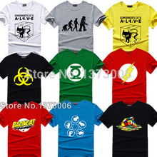 The Big Bang Theory T-shirt Sheldon Cooper super hero green lantern the flash cosplay t shirts comic science geek tee tshirt - Clearlygeek - 1