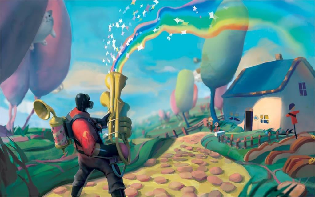 lovely rainbow house pyro tf2 team fortress 2 artwo 4' Size Poster Prints - Clearlygeek