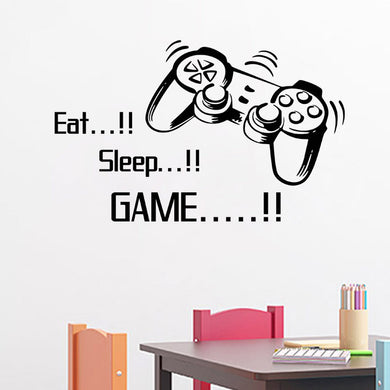 Eat Sleep Game vinyl wall art stickers gamer xbox ps3 Boys Bedroom Letter Quotes Home Decoration Wall Mural - Clearlygeek