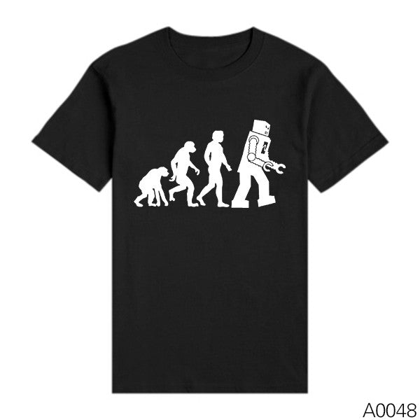 Men Shirts The BIG BANG Theory Bazinga Sheldon Cooper Tshirts The Evolution Of Man Geek Logo Robot Short Sleeve T-shirts - Clearlygeek - 12