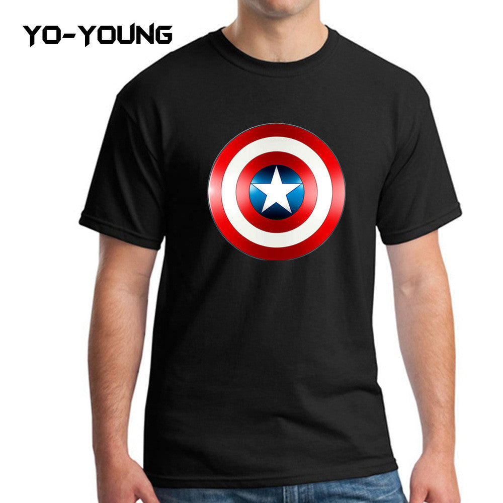Yo-Young Mens T Shirts Supehero Captain America Printed 100% Cotton Casual Top Tee camisetas Brand Quality Customer Made - Clearlygeek - 6