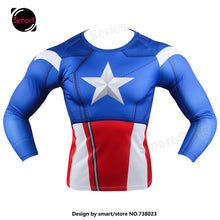 Fashion Marvel Comics Super Heroes Spiderman Captain America Batman Lycra Tights sport T shirt Men fitness clothing Long sleeves - Clearlygeek - 9