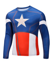2015 new men Body sculpting sweatshirt T-shirt spiderman captain America avengers superhero men's long sleeve shirt 21 style - Clearlygeek - 4