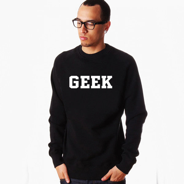 Black Geek Lettering Printed Sweatshirt Men Fall Winter Clothing Male Pullover Print Boys Sweat Shirt Metal Rock Nerd Student - Clearlygeek
